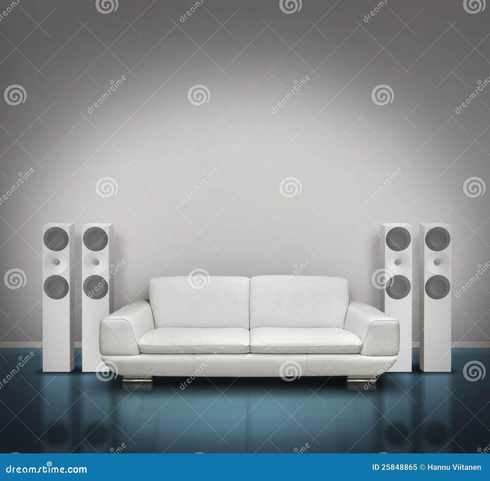 Blue And White Music Room Stock Illustration Illustration