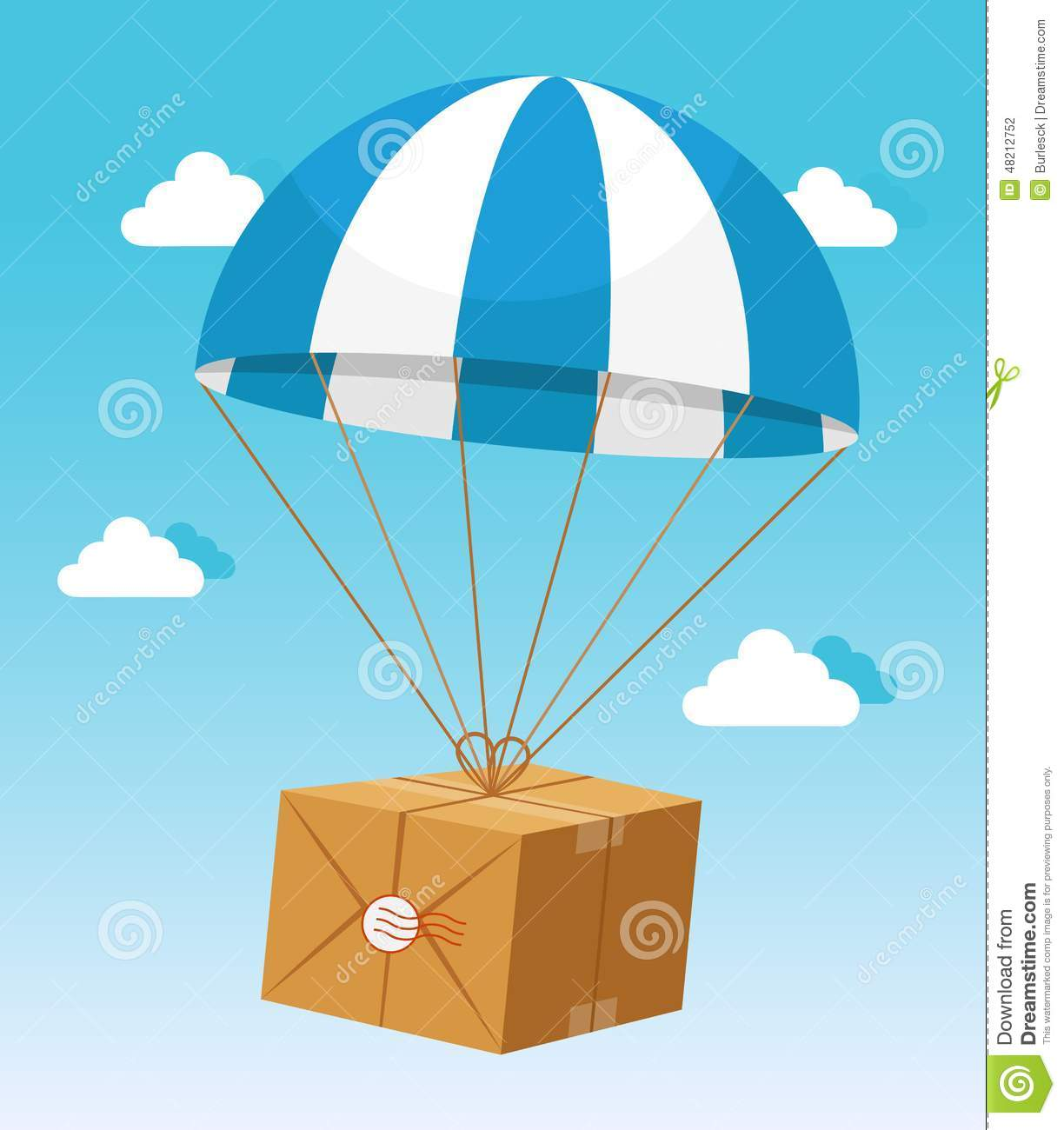 Blue And White Parachute Holding Delivery Box Stock Vector ...