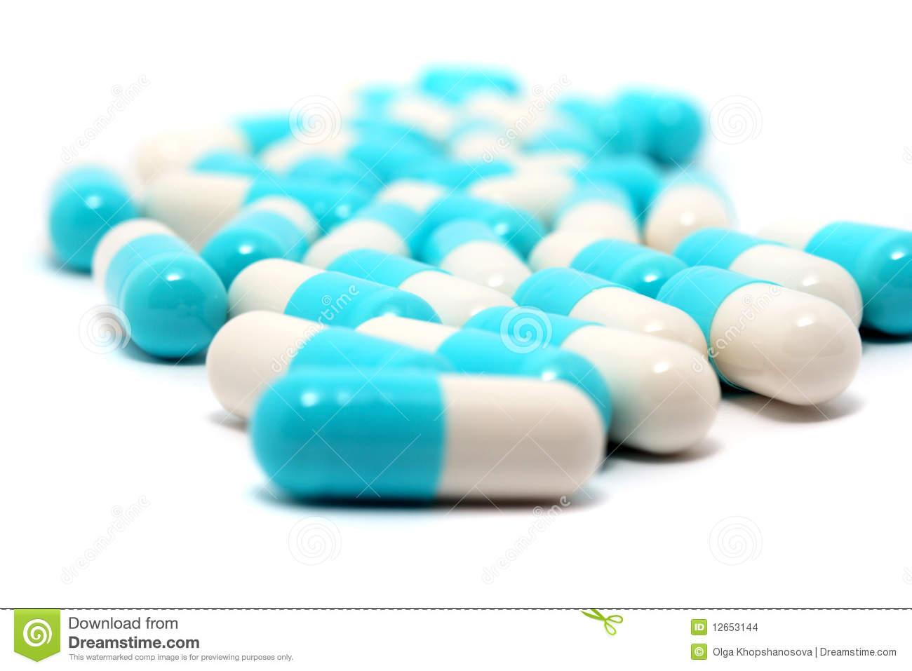 Blue-white Pills Stock Images - Image: 12653144