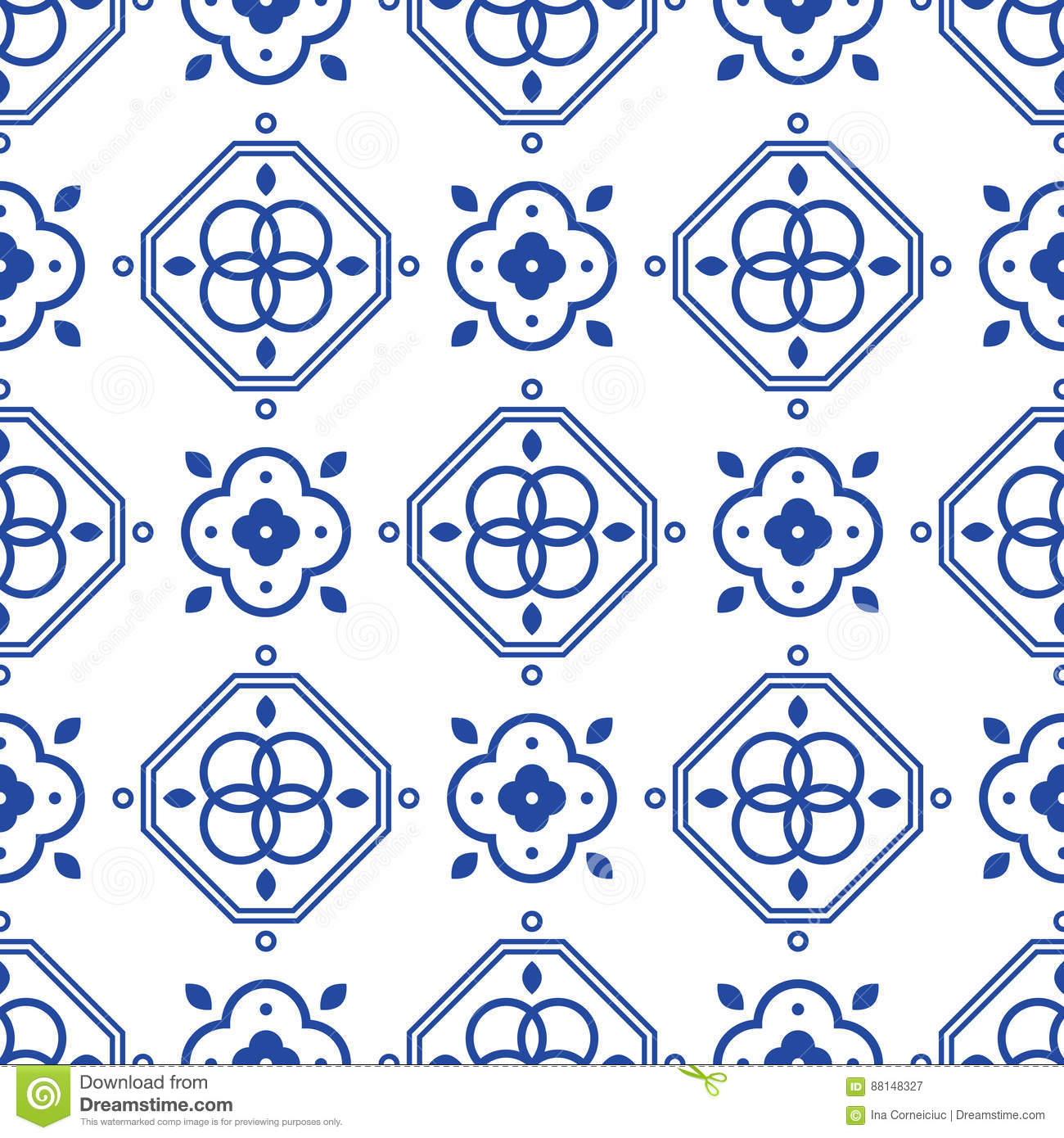 Blue And White Portugeese Mediterranean Seamless Tile Pattern. Stock ...