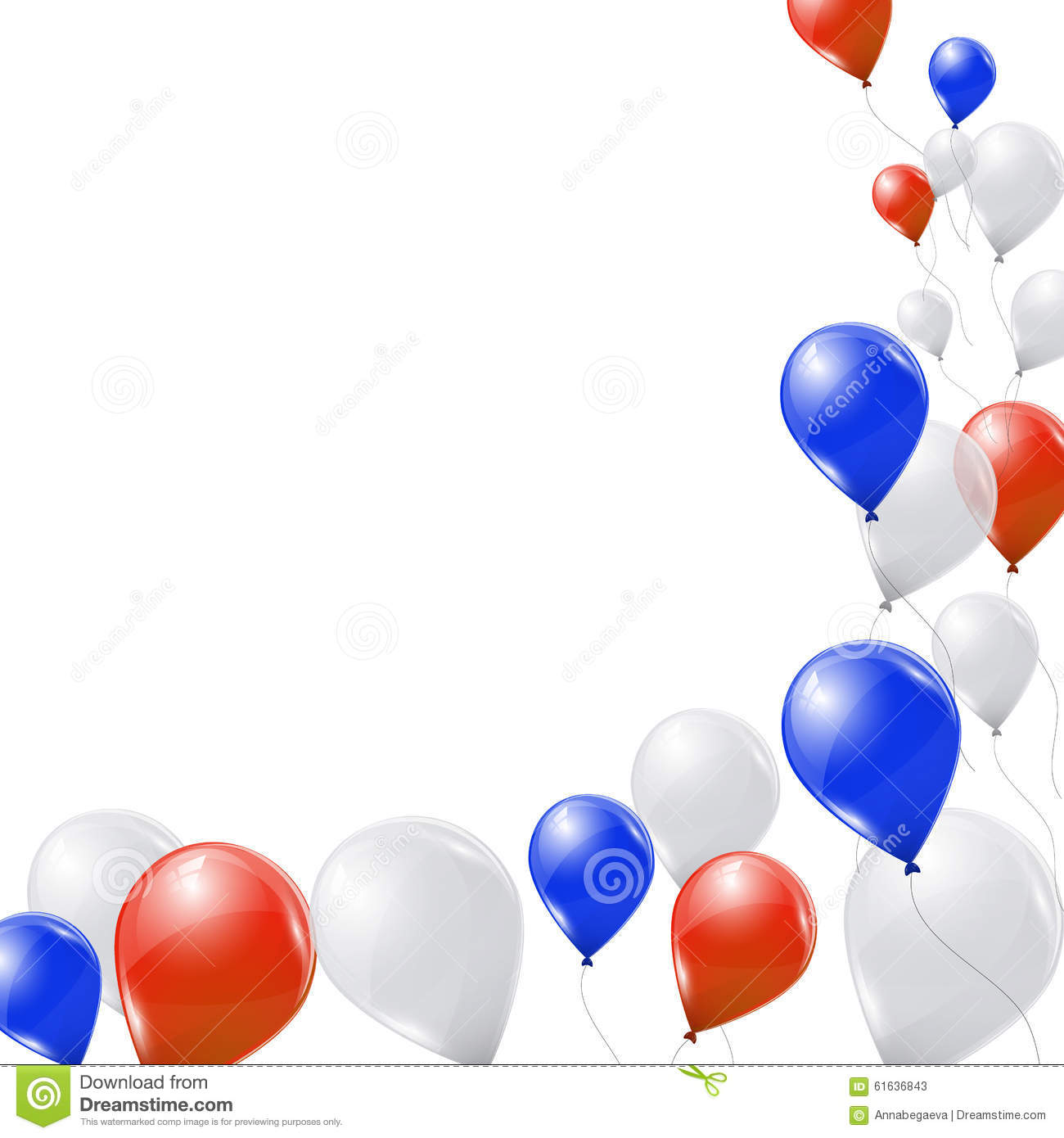 Blue, White And Red Balloons On White Background Stock ...