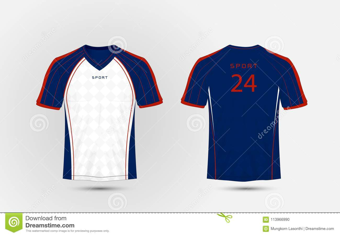Blue White And Red Lines Layout Football Sport T Shirt Kits