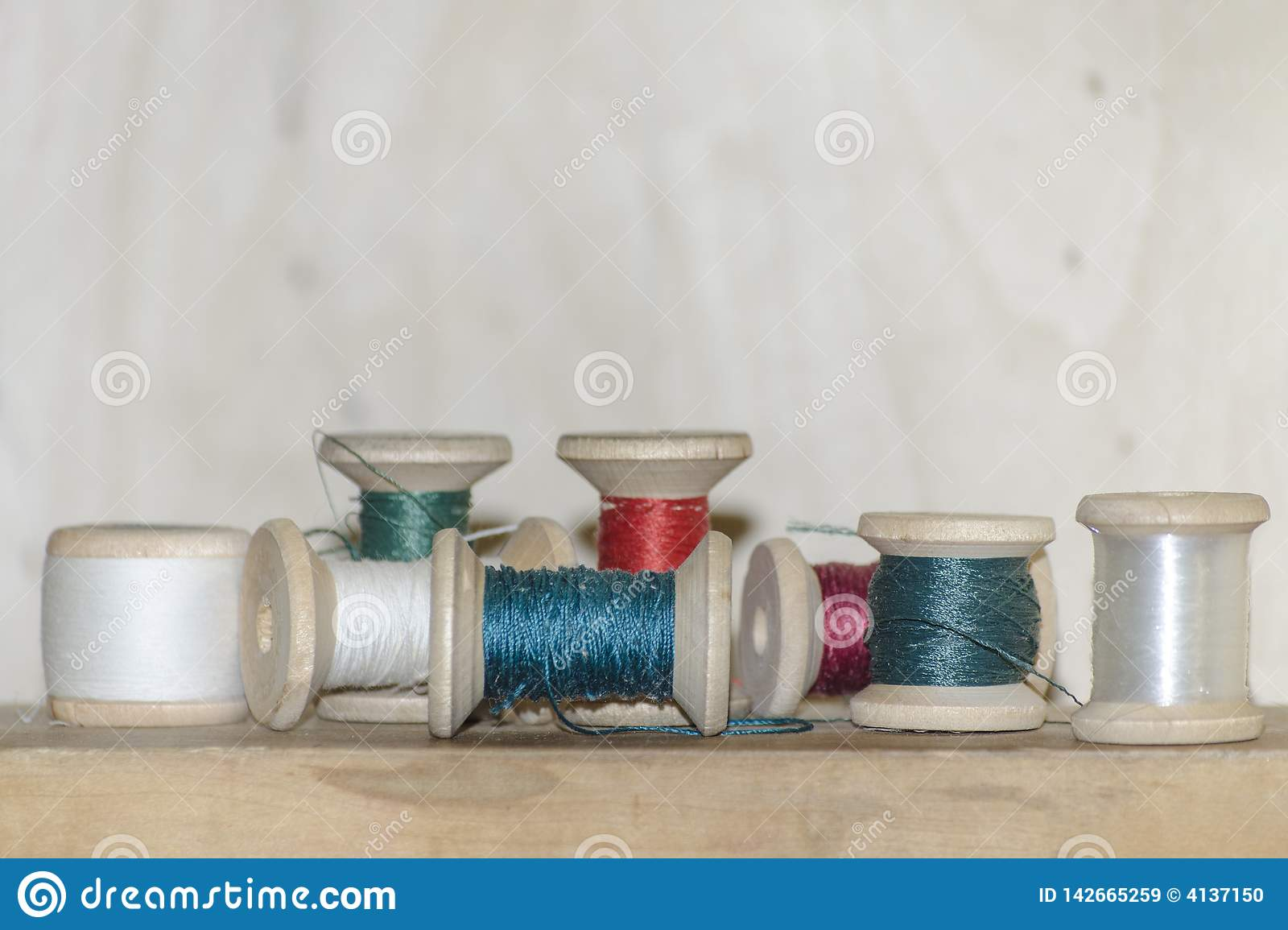 Spools of colored thread