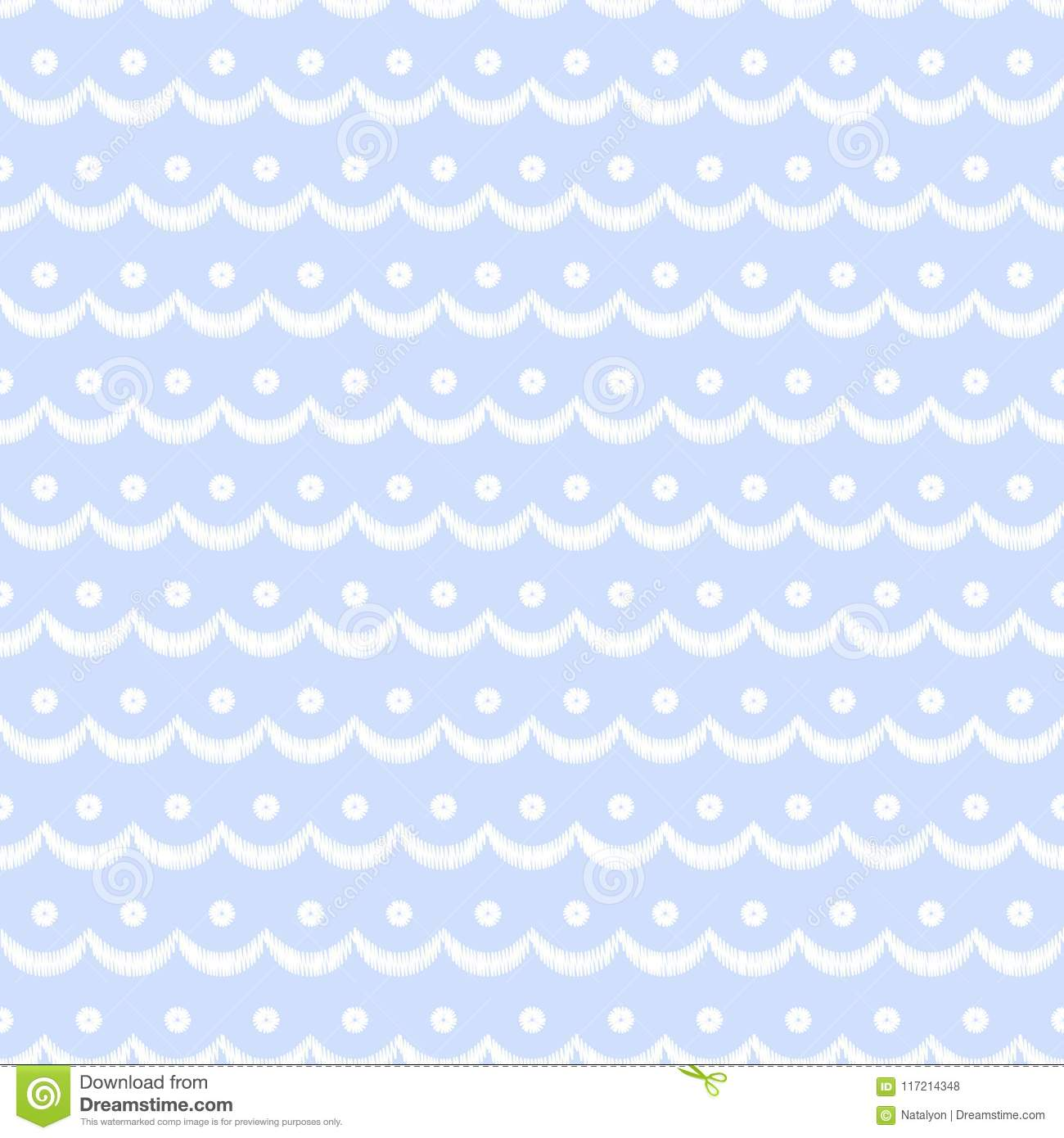 Blue and white scalloped lacy edge embroidery, seamless pattern, vector