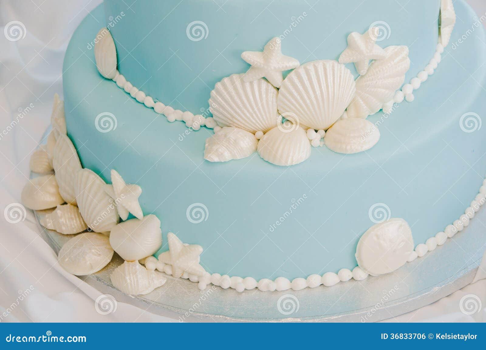 Brilliant Blue And White Seashell Cake Stock Photo Image Of Theme Shells Personalised Birthday Cards Akebfashionlily Jamesorg