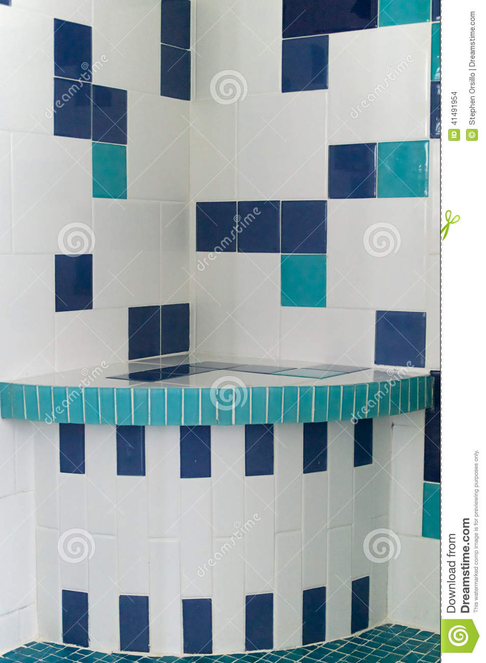 Blue and white shower tile stock photo. Image of bathroom - 41491954