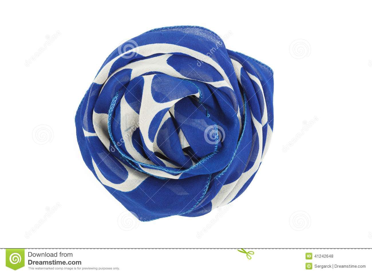 A blue and white silk scarf associated rose