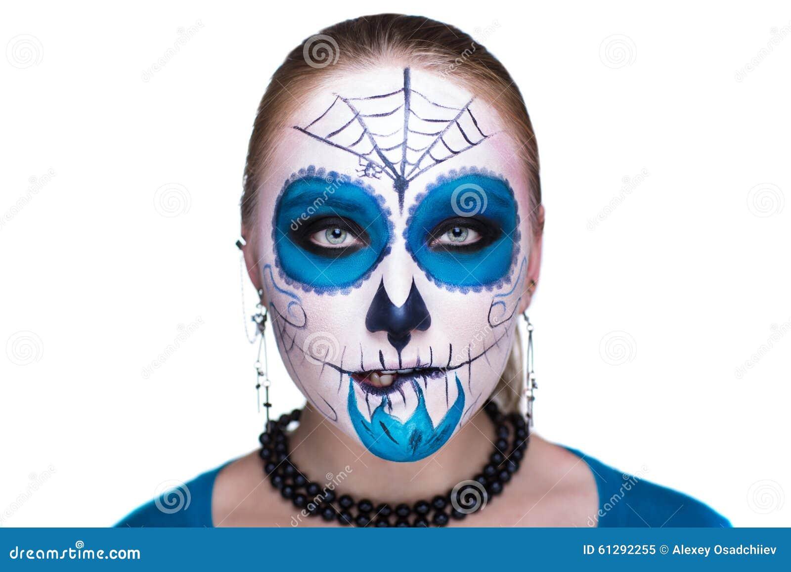 Blue White Skull Mask Stock Photo
