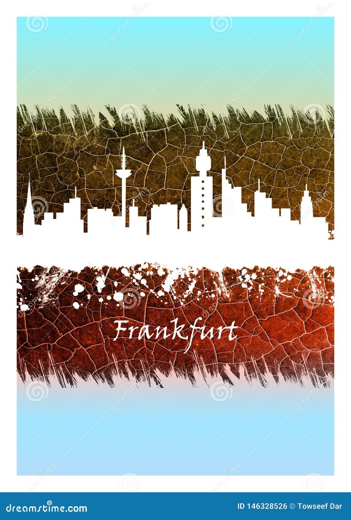 Frankfurt Skyline Blue and White