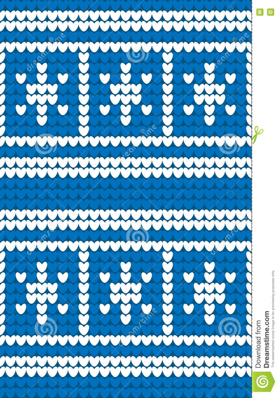Blue And White Snowflakes Knitted Background. Winter Knitting ...