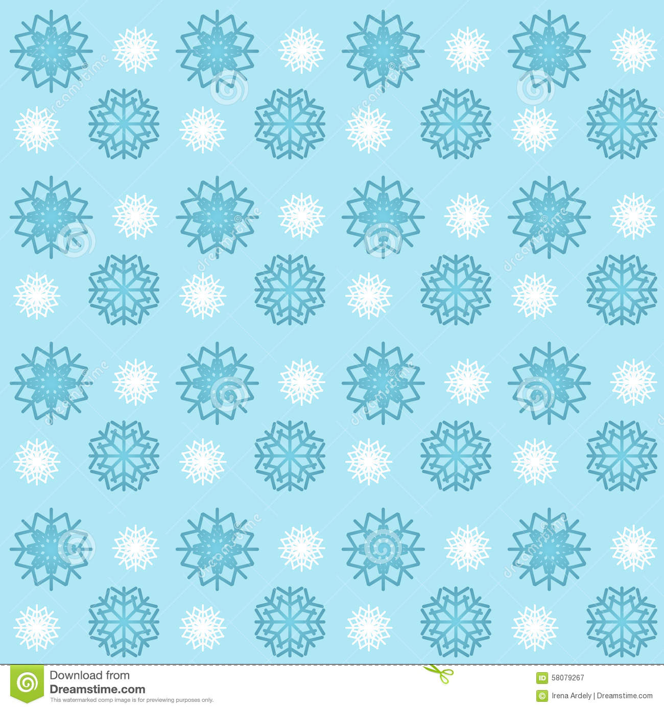 Blue And White Snowflakes Seamless Pattern Wallpaper Background