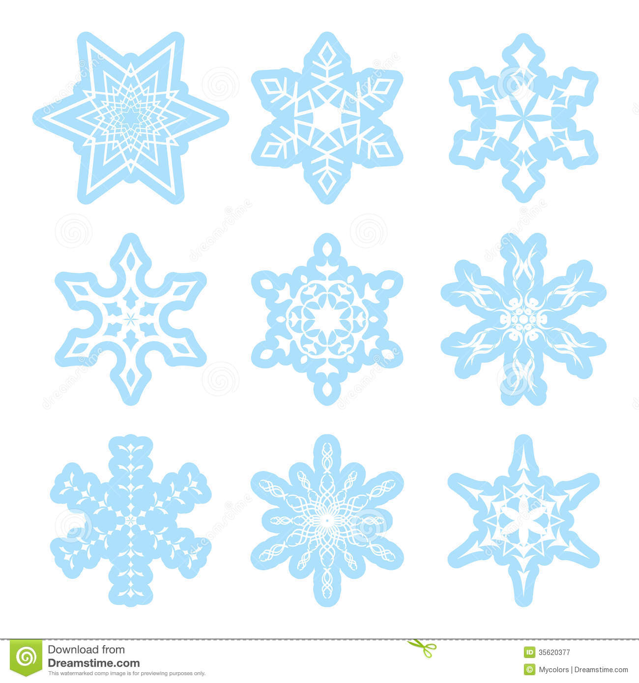 Blue And White Vector Snowflakes Stock Vector - Image ...