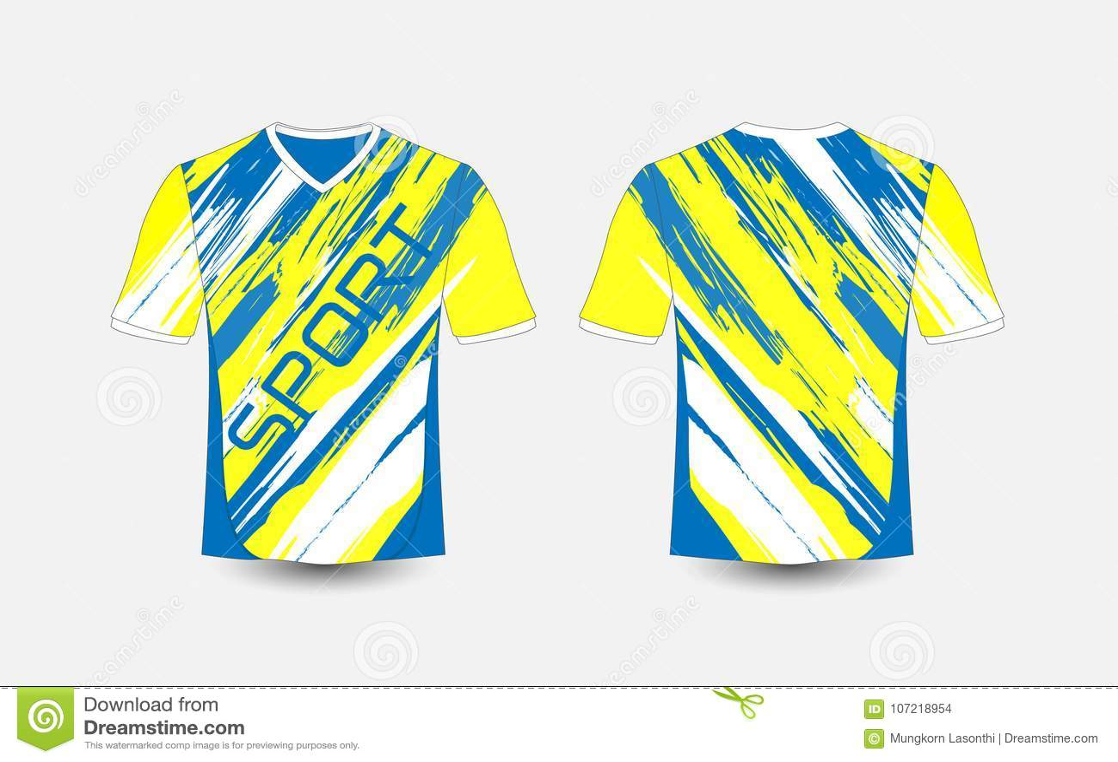 Blue and White stripe pattern sport football kits, jersey, t-shirt design template