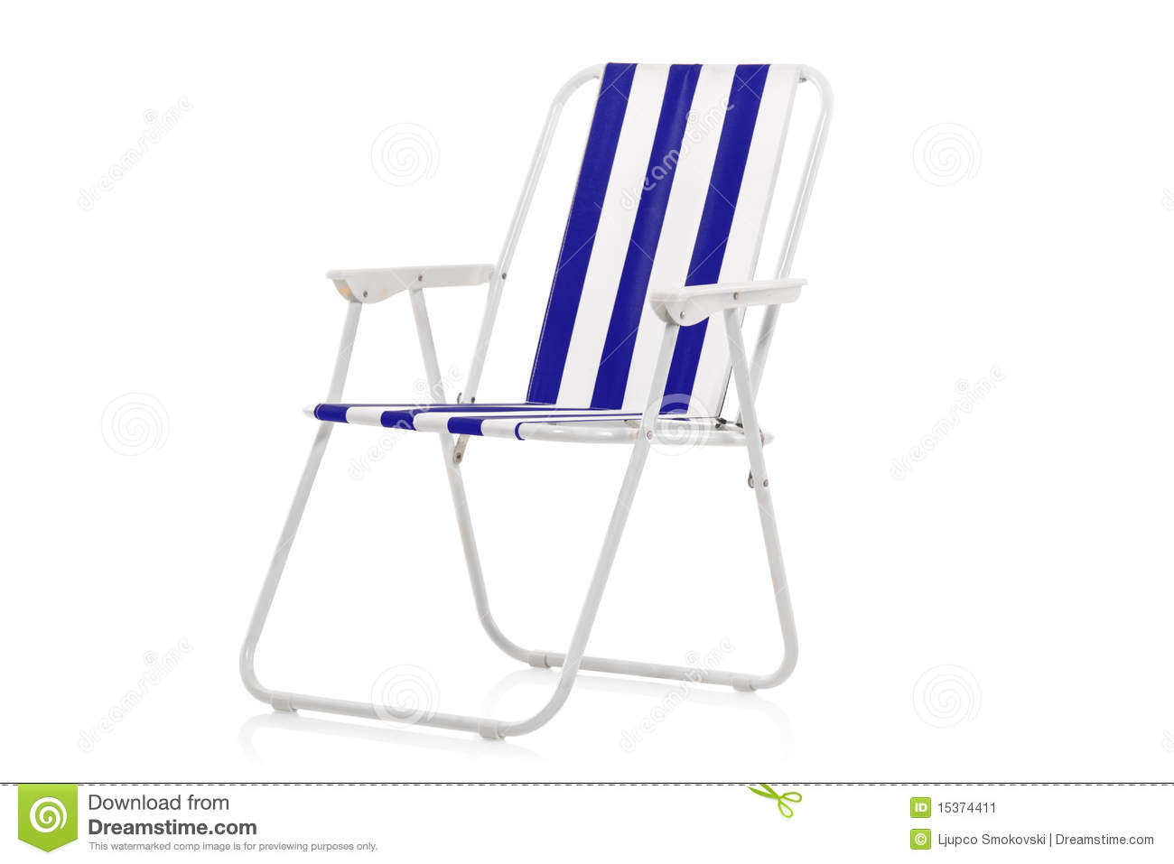 Blue and white striped beach chair stock image image for Sillas para jugar a la play