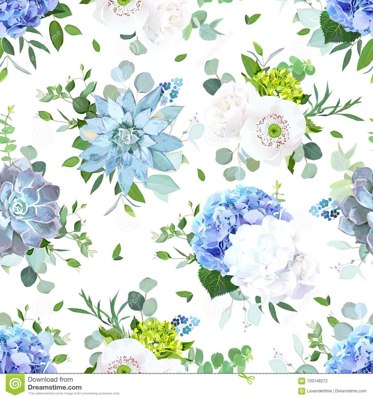 Blue And White Summer Flowers Seamless Vector Design Print Stock