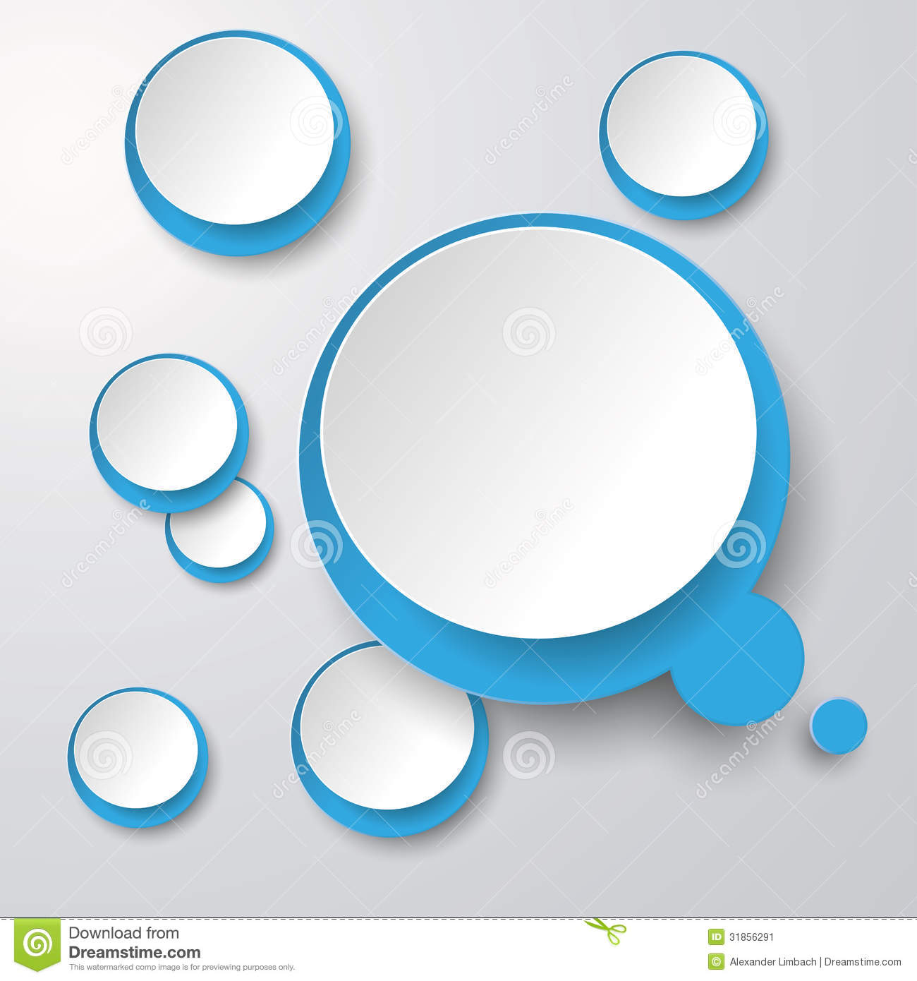Infographic design on the grey background eps 10 vector file - Blue White Thought Bubble With Circles 2 Stock Image