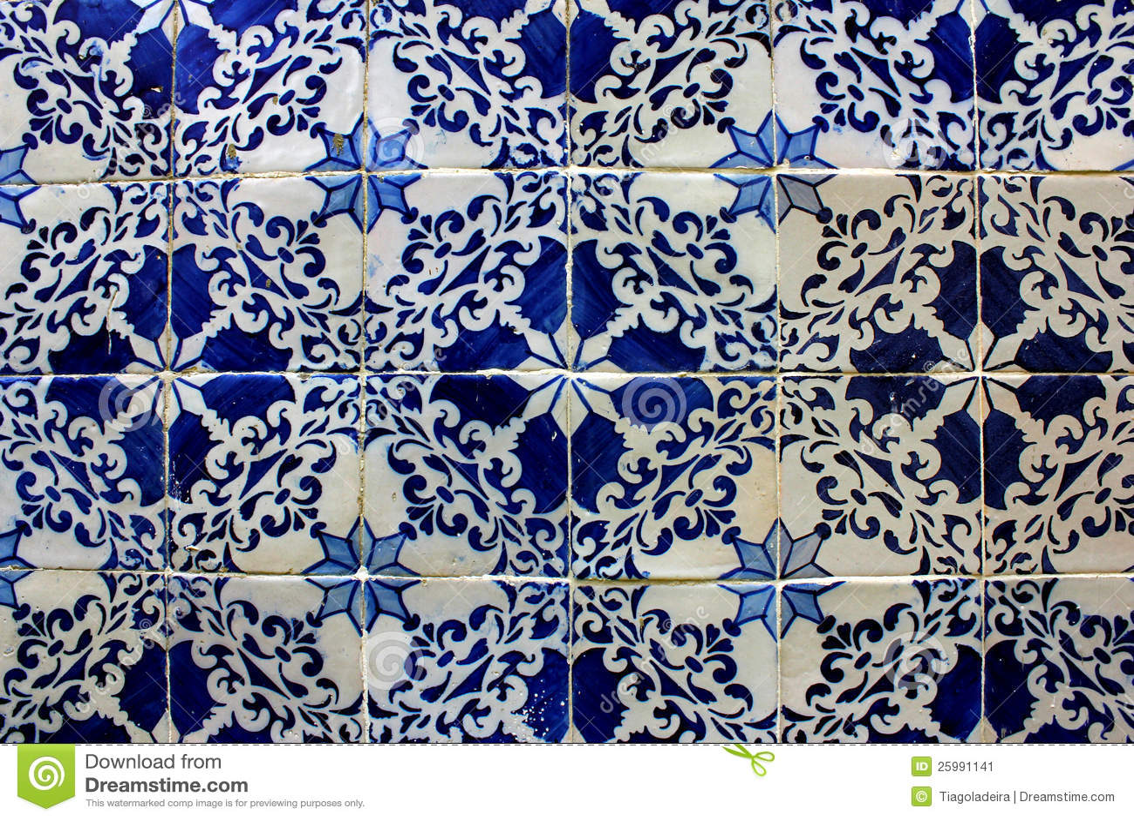 Blue And White Tiles Lisbon Portugal Stock Image Image