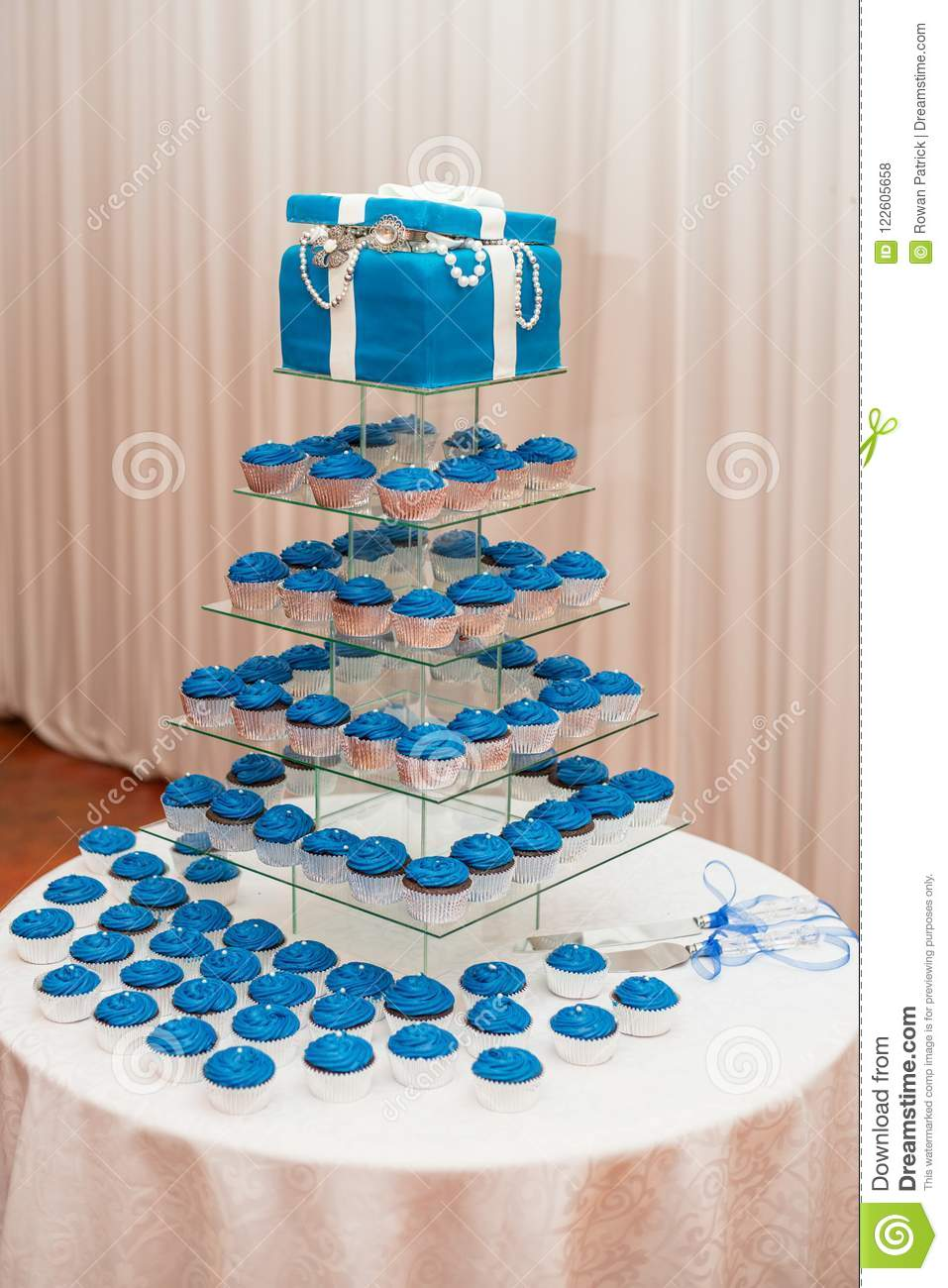 Blue Cake And Cupcakes Stock Photo Image Of Jewelery 122605658