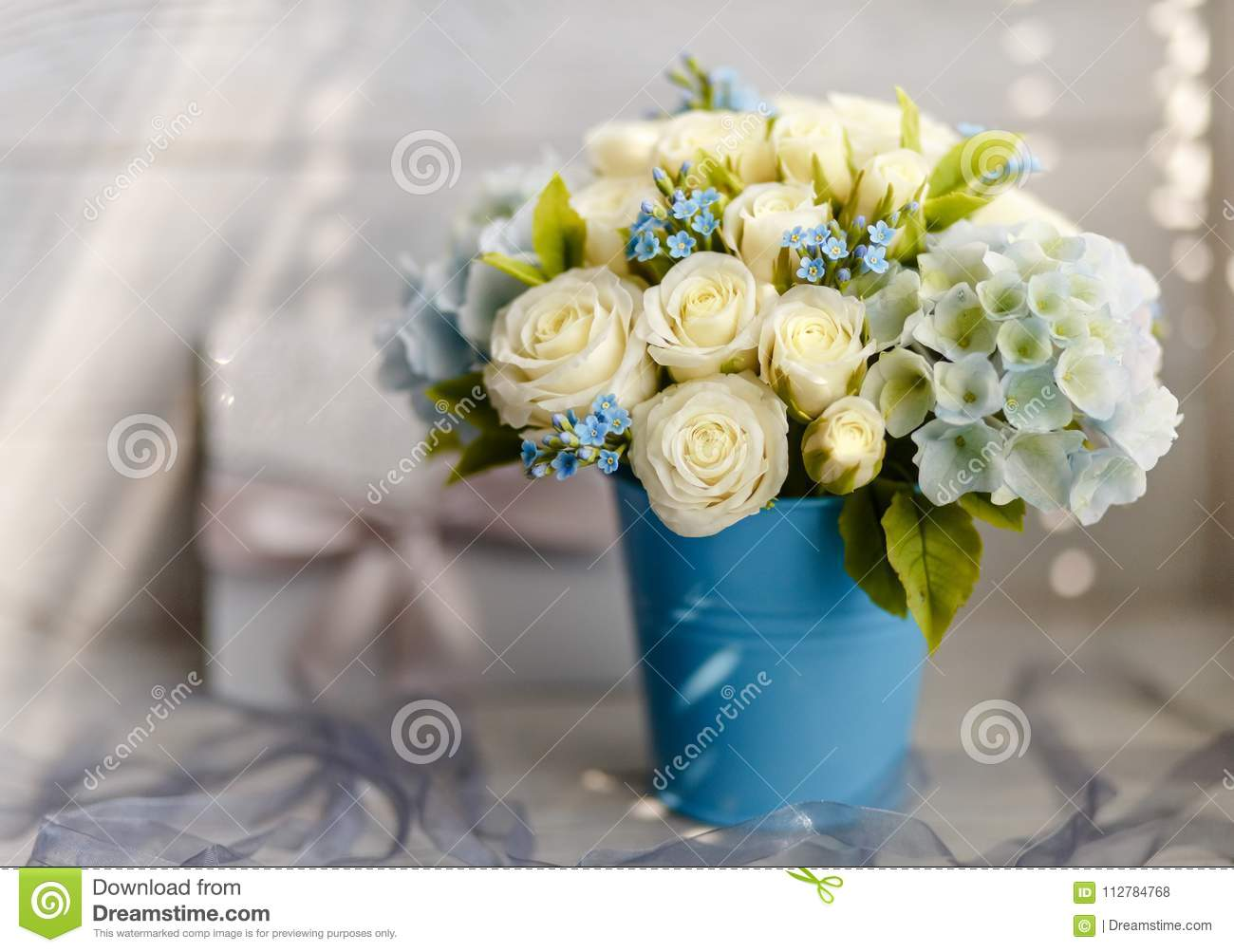 Blue And White Wedding Flowers Stock Photo Image Of Celebrating