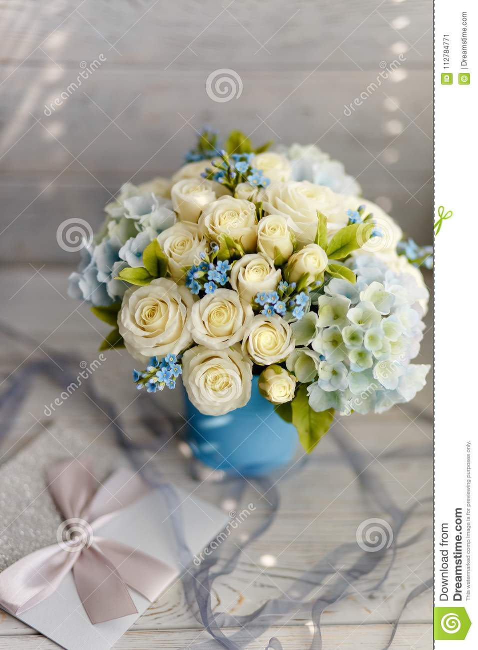 Blue And White Wedding Flowers Stock Image Image Of Background