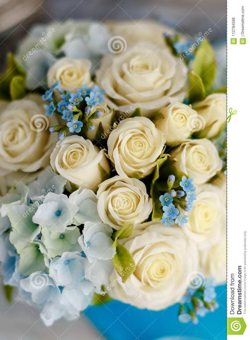 Blue And White Wedding Flowers Stock Photo Image Of Blowing