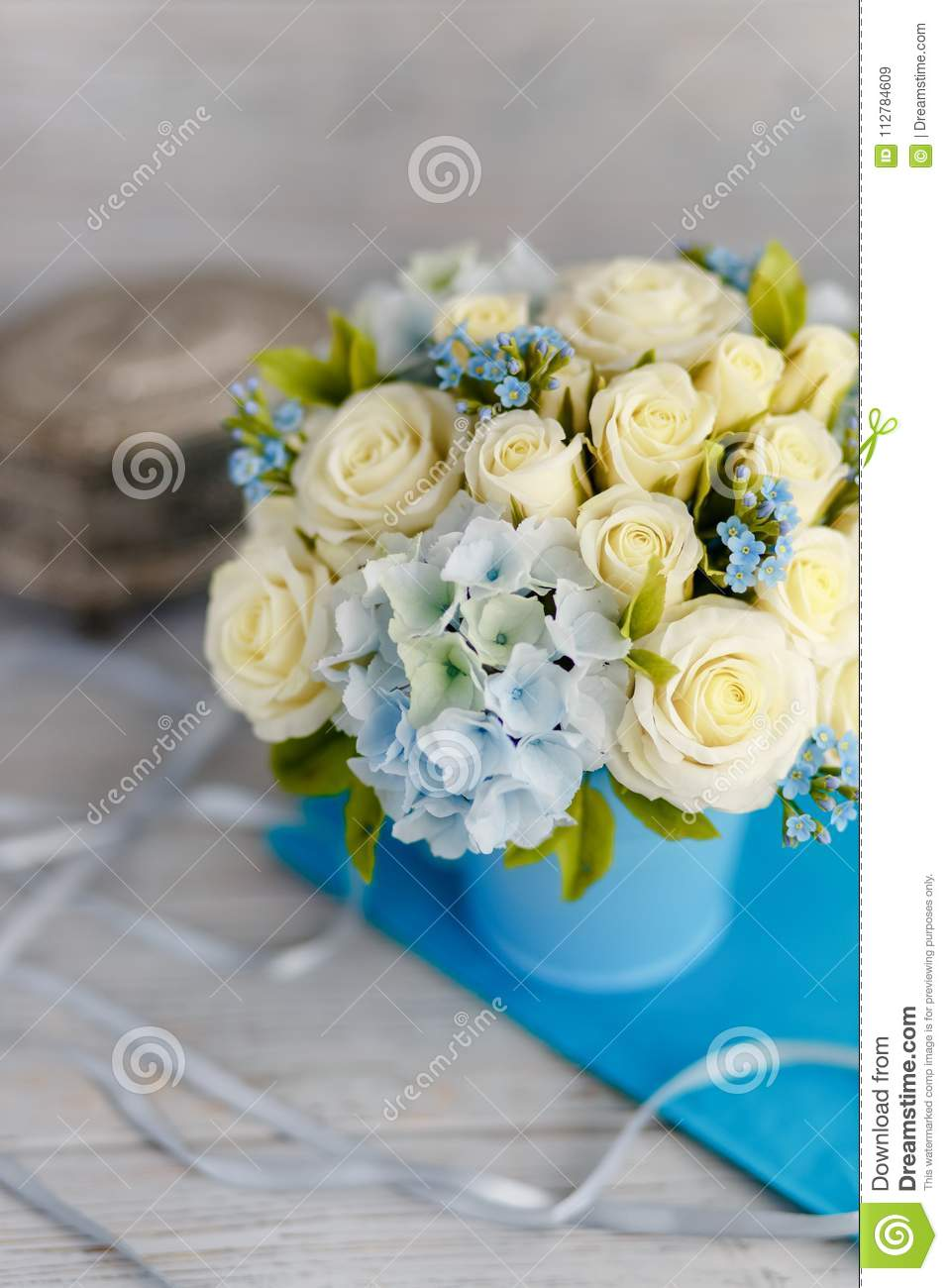 Blue And White Wedding Flowers Stock Image Image Of Confetti
