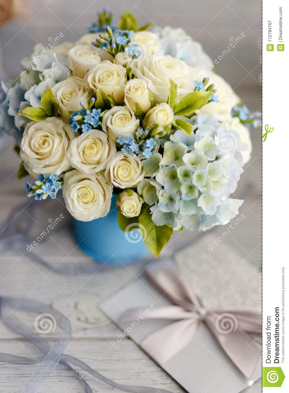 Blue And White Wedding Flowers Stock Image Image Of Candy Cake