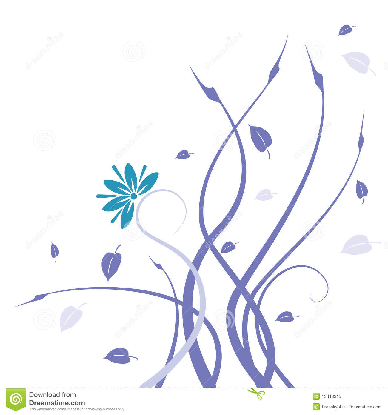 Black Flower And Vines Pattern Royalty Free Stock Image: Blue Wild Flower And Vines Pattern Royalty Free Stock