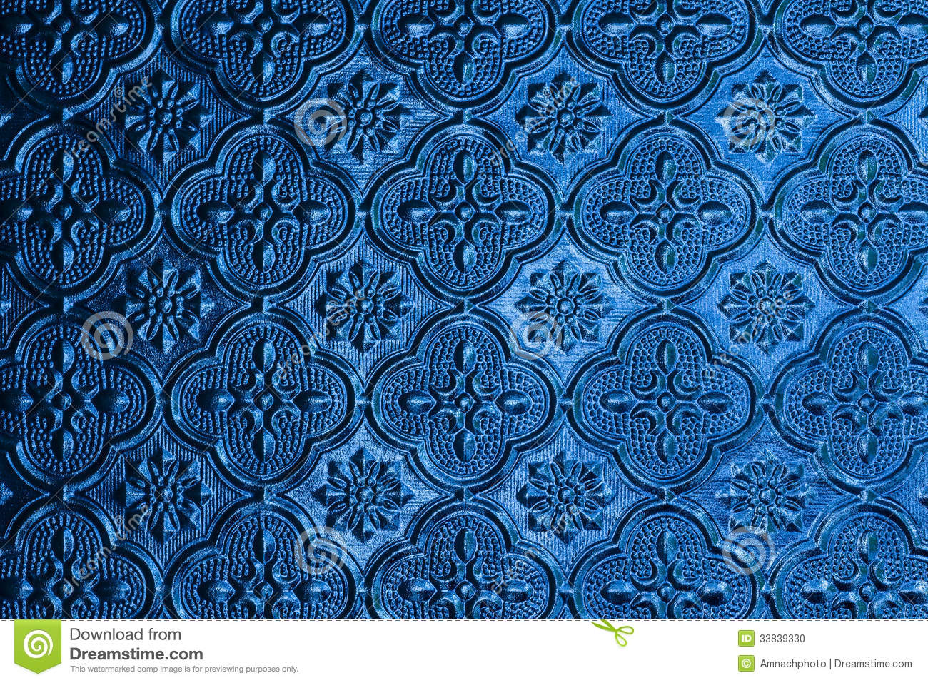 Blue Window Glass Background In Thai Style House Stock