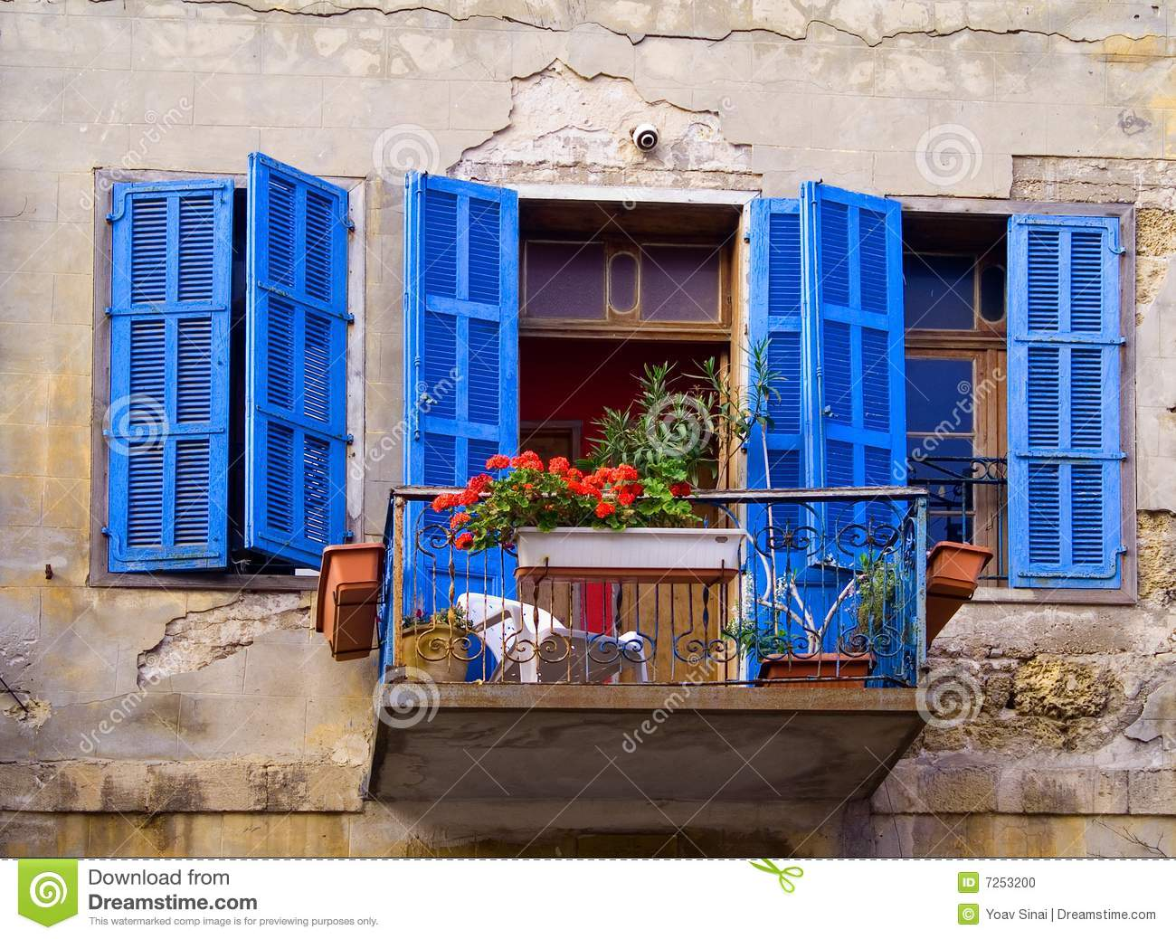 Red entrance door in front of residential house stock photo - Blue Windows Jaffa Israel Stock Photo Image 7253200