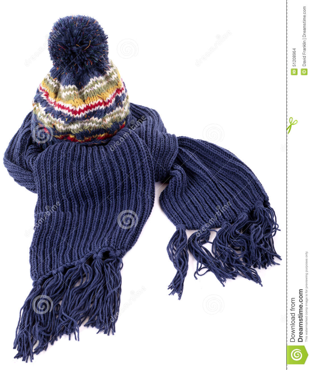 Blue winter scarf with knit hat isolated on white background