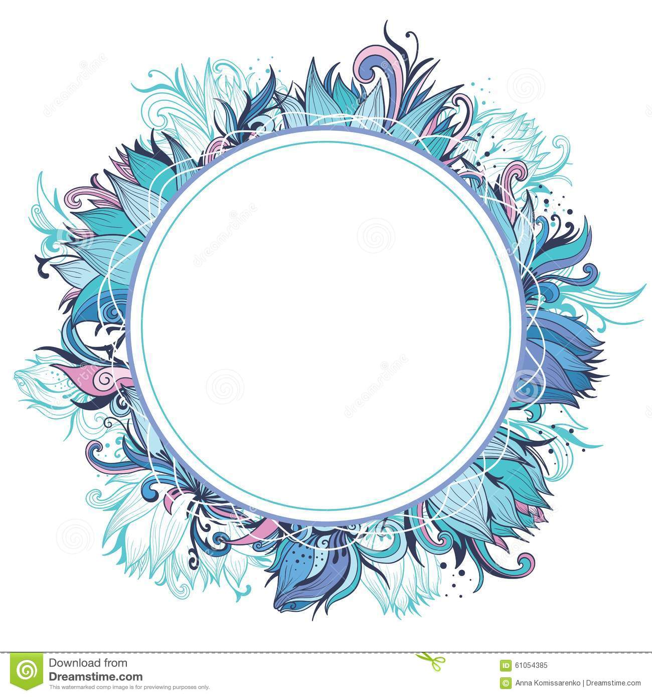 Blue Winter Floral Frame With Lotus Stock Vector