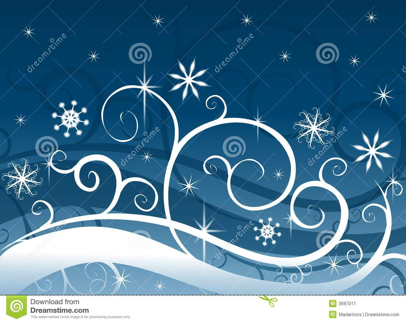 Blue Winter Wonderland Snowflakes Stock Image - Image: 3697011