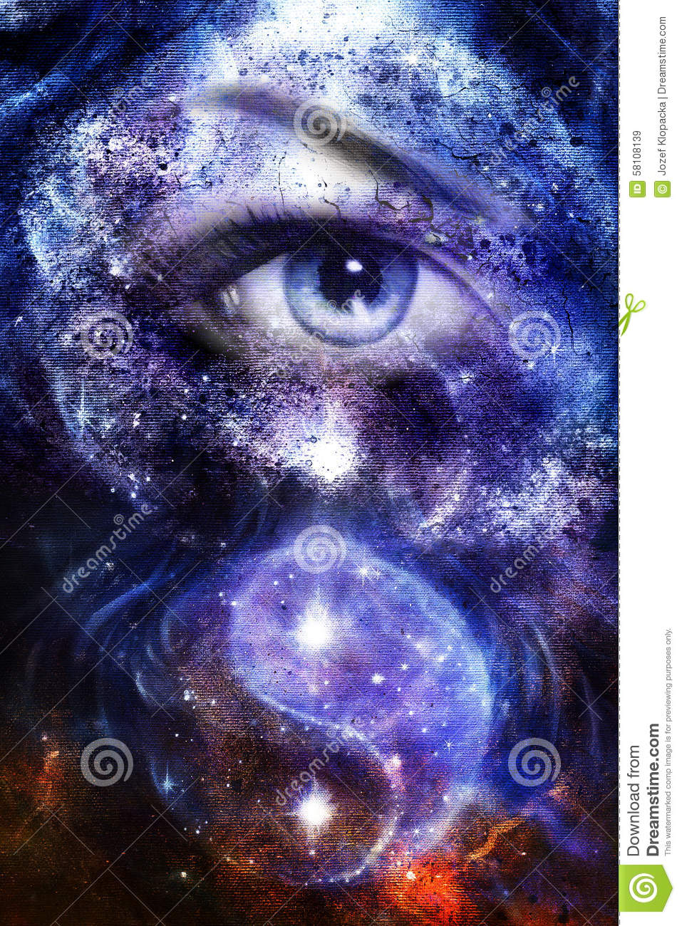 Blue Women Eye With Space And Stars With Simbol Yin Yang Abstract Painting Collage Stock