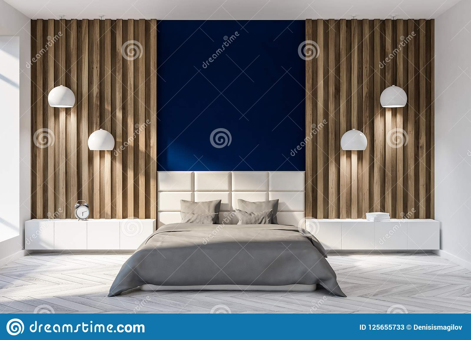 Blue And Wood Bedroom Interior Double Bed Stock Illustration Illustration Of Decor Bedroom 125655733
