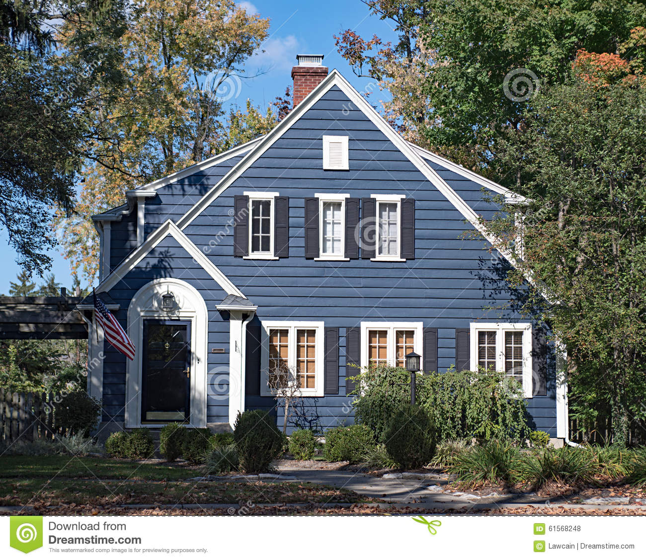 Blue wood sided house stock photo image 61568248 for Cottage siding