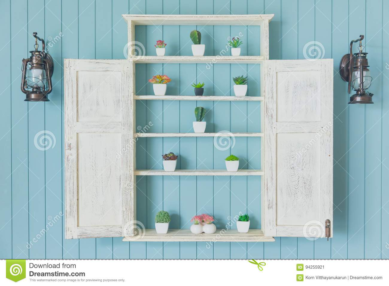 Blue wood with small garden home decoration