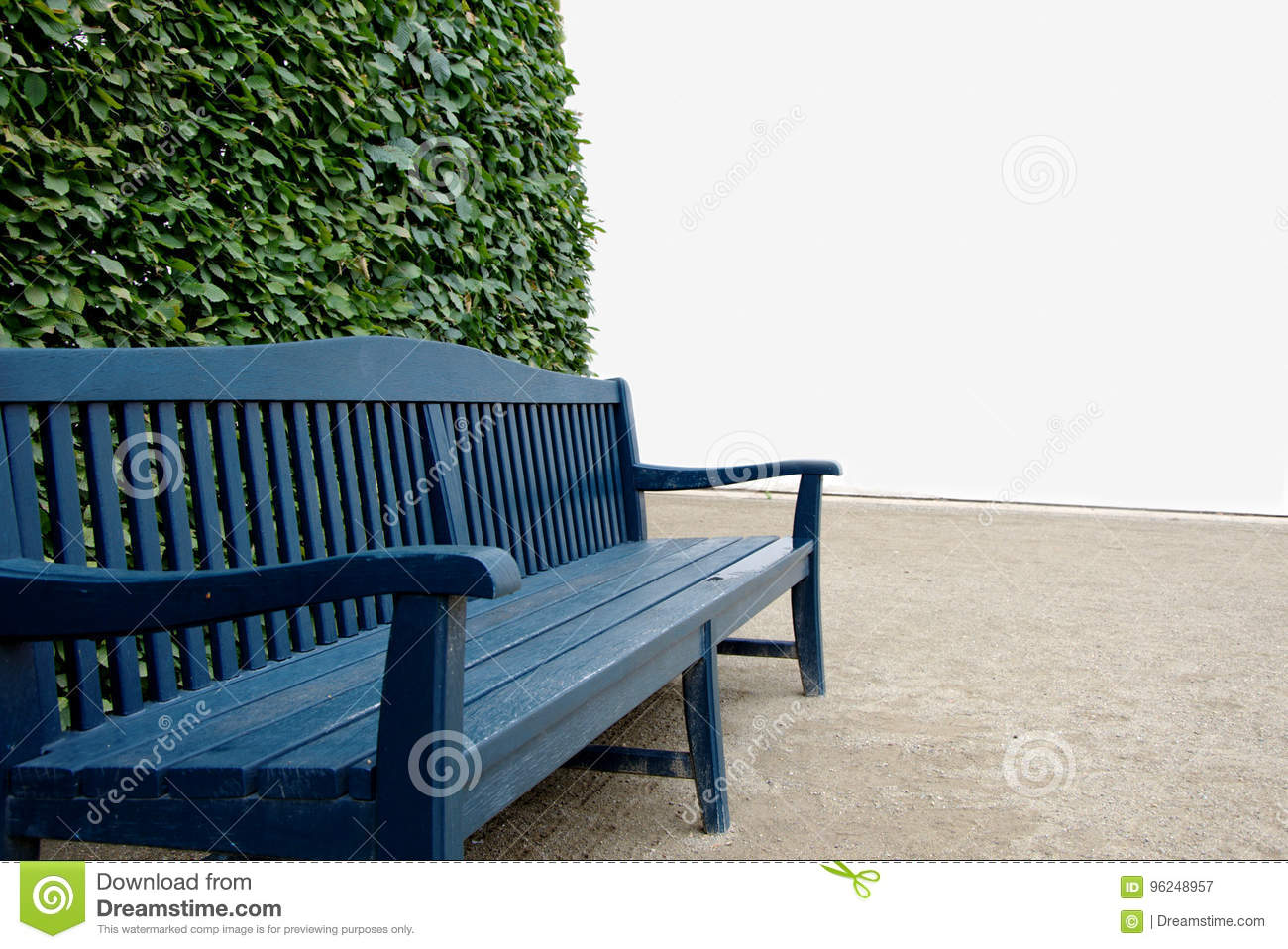 Admirable Blue Wooden Bench With Green Bush And White Wall In The Uwap Interior Chair Design Uwaporg
