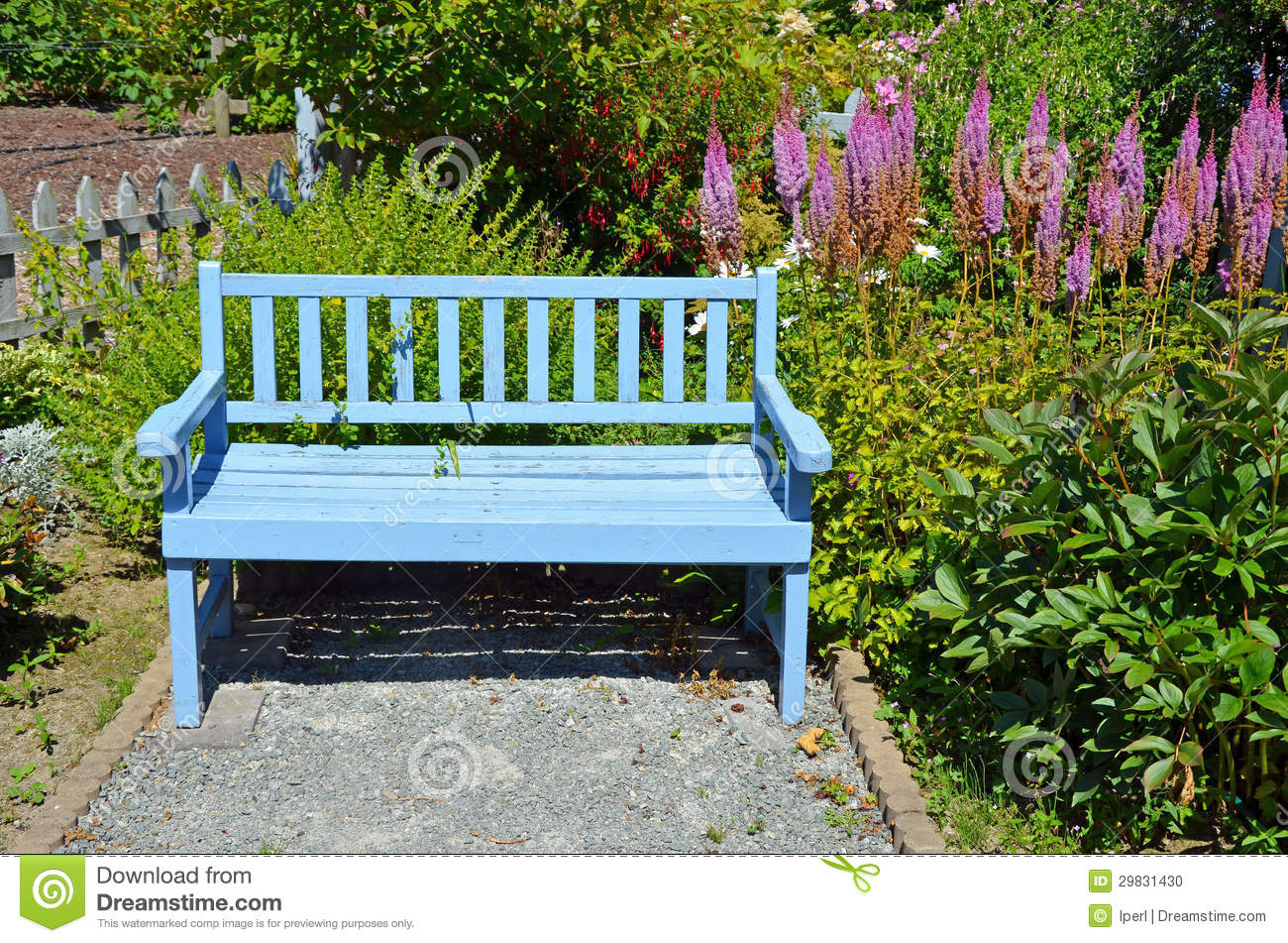 Blue garden bench stock photo. Image of park, spring ...