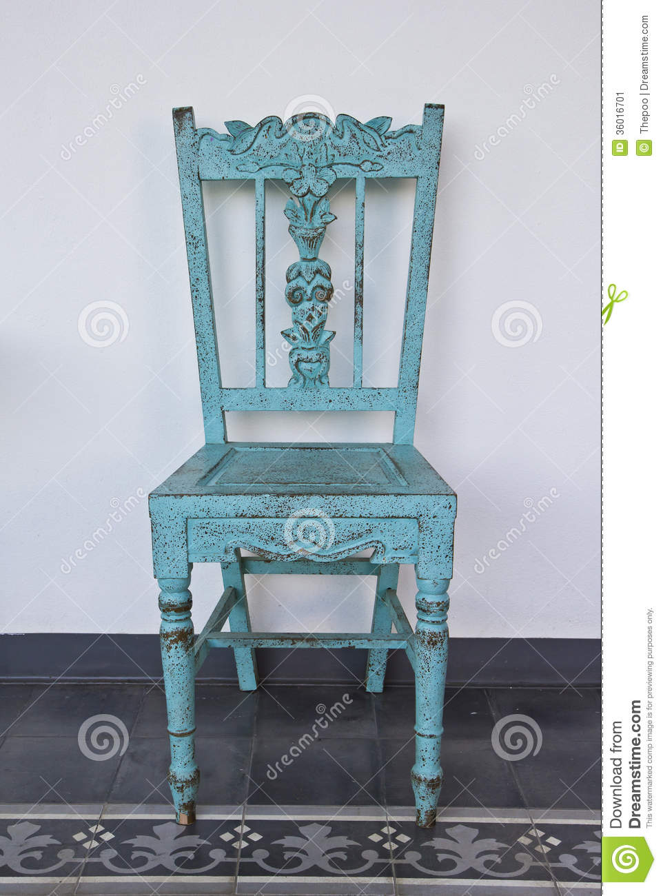 Blue Wooden Chair Stock Image Image Of Patio Seat Chair