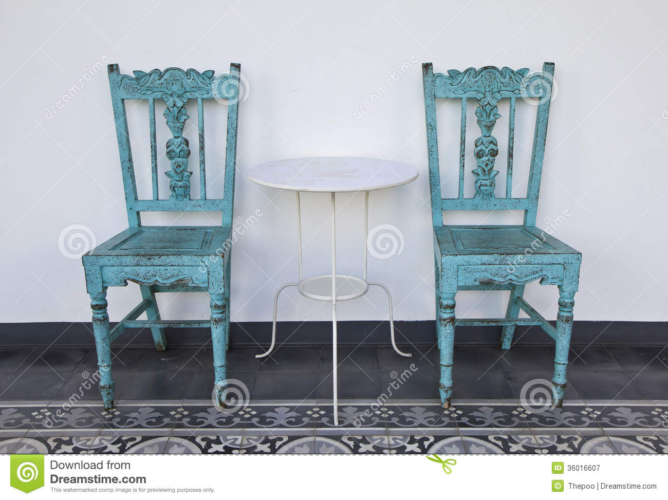 Blue Wooden Chair With Table. Royalty Free Stock ...