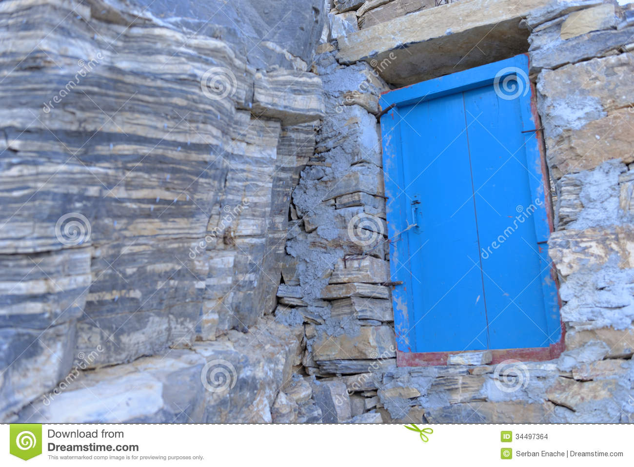 Monastery Blue Wooden Door Stock Images Image 34497364