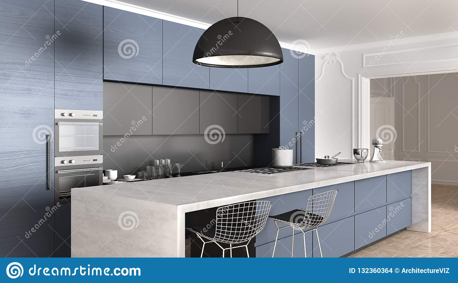 Blue Wooden Modern Minimal Kitchen With Island Appliances And Big Pendant Lamp In Classic Apartment With Stucco Walls And Parquet Stock Illustration Illustration Of Contemporary Blue 132360364