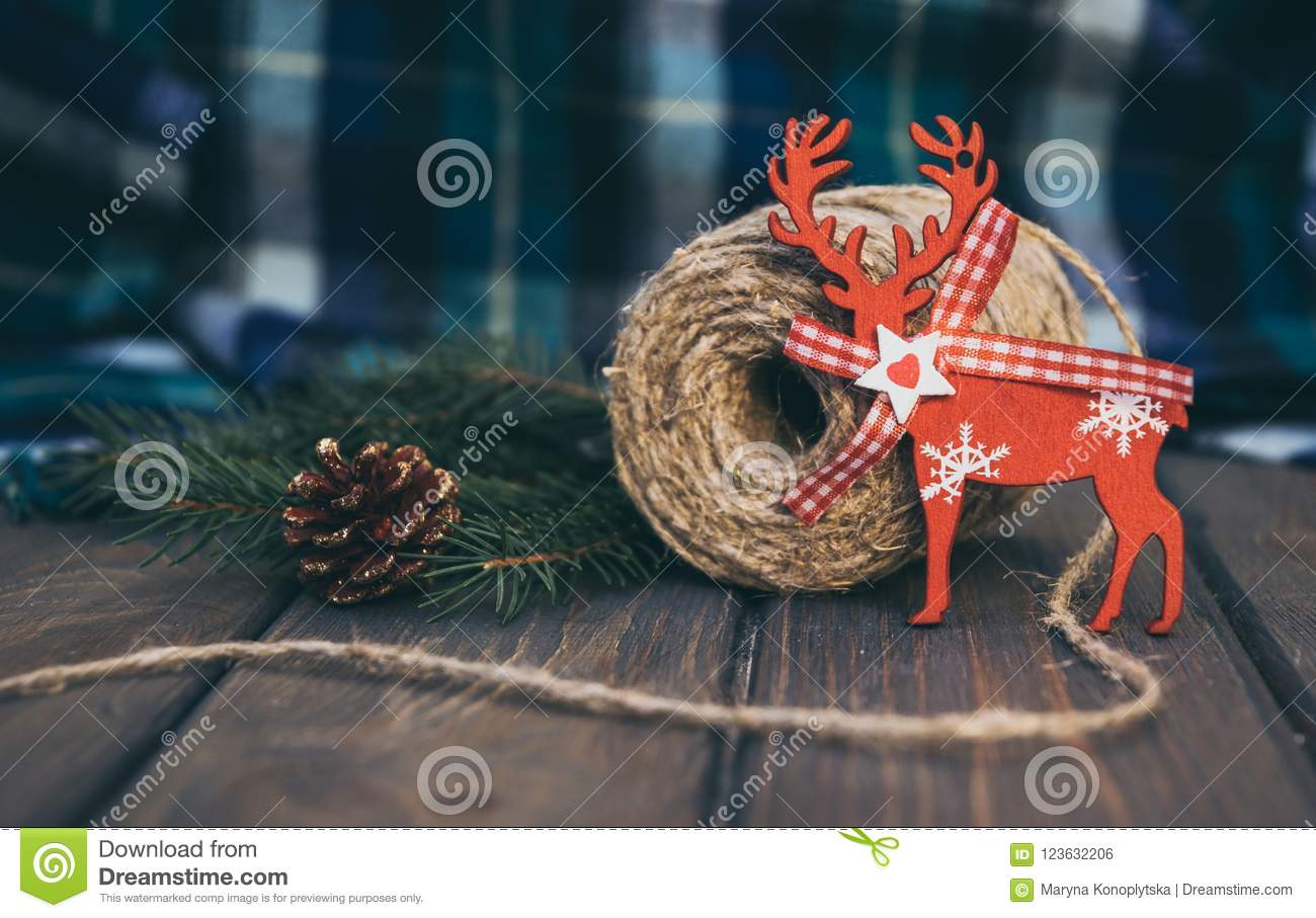 Blue Woolen Plaid And Old-fashioned Christmas Decorations Stock ...