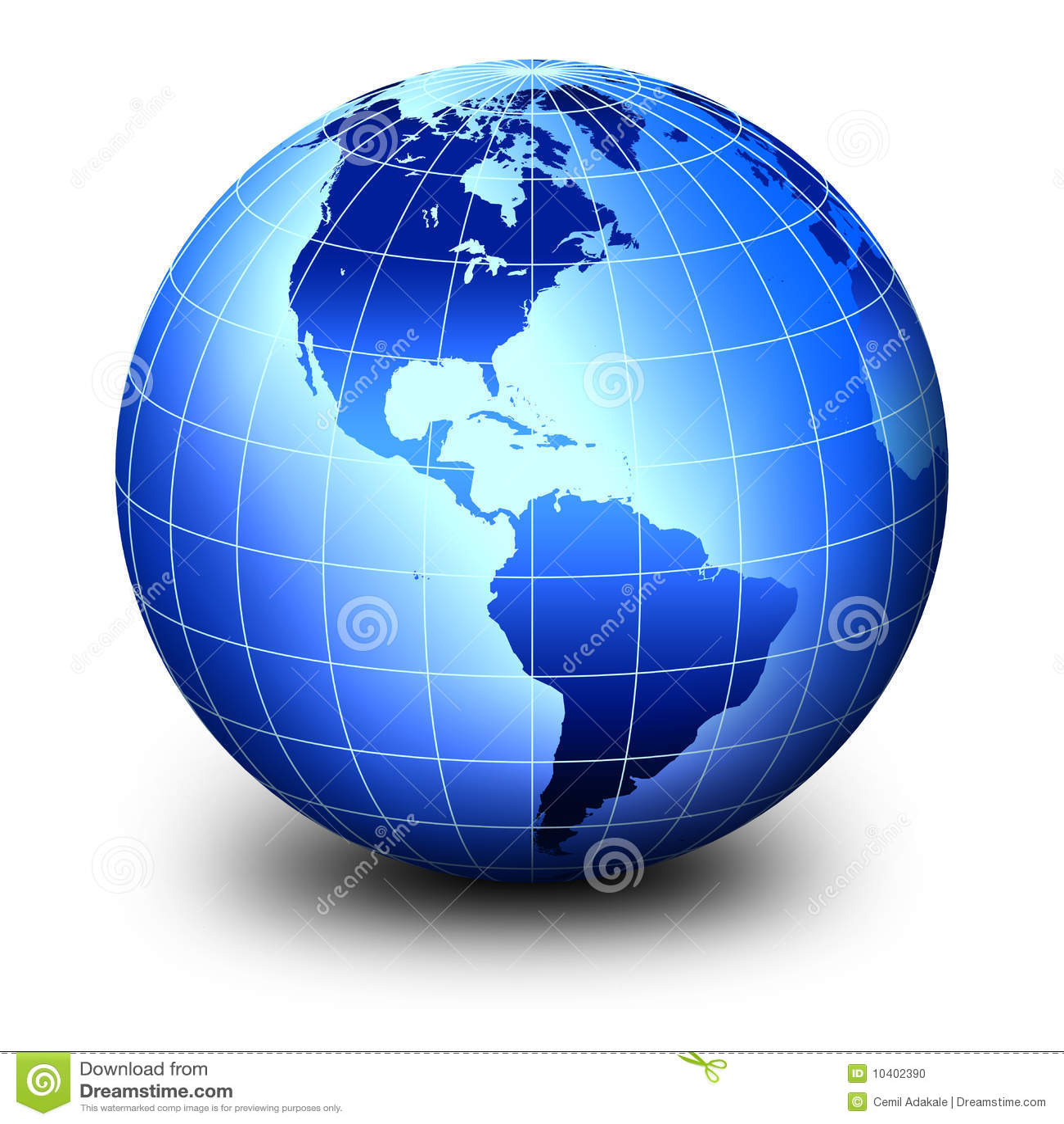 World: Blue World Globe Stock Photo