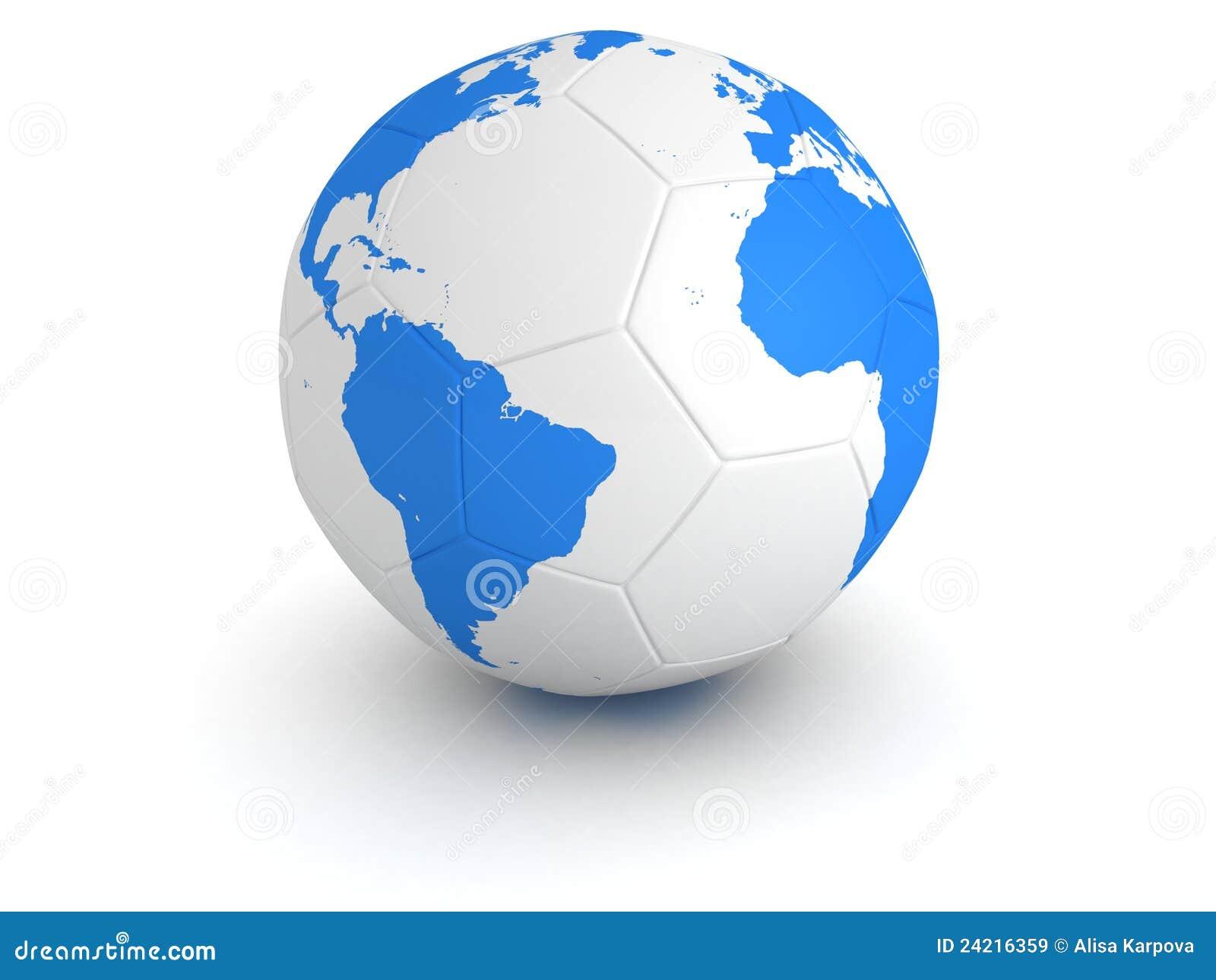Blue World Globe Map On White Soccer Ball Royalty Free ...
