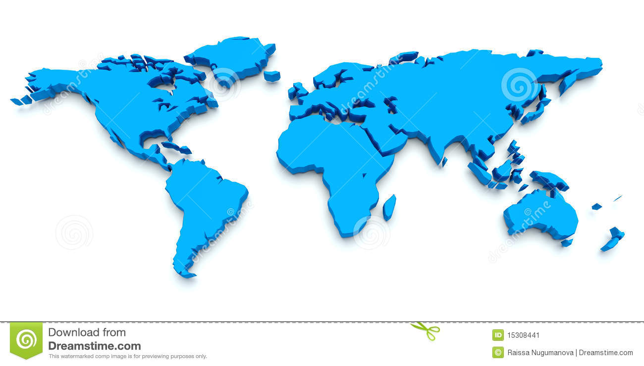 Blue World Map 3D Stock Image Image 15308441