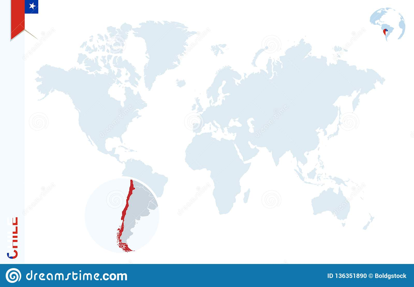 Blue World Map With Magnifying On Chile Stock Vector - Illustration on