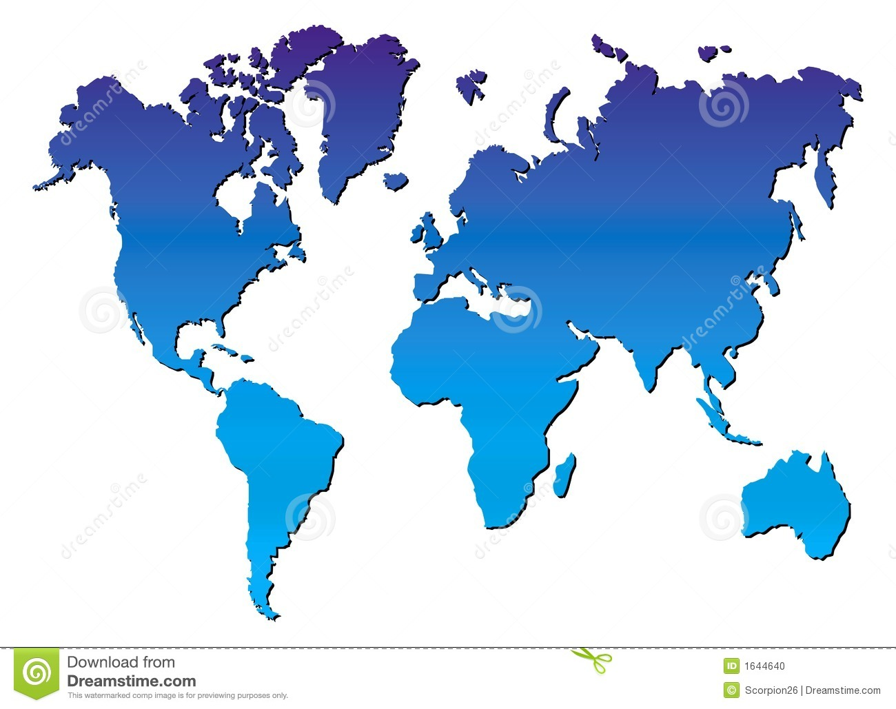 Blue World Map Vector Stock Photo Image 1644640