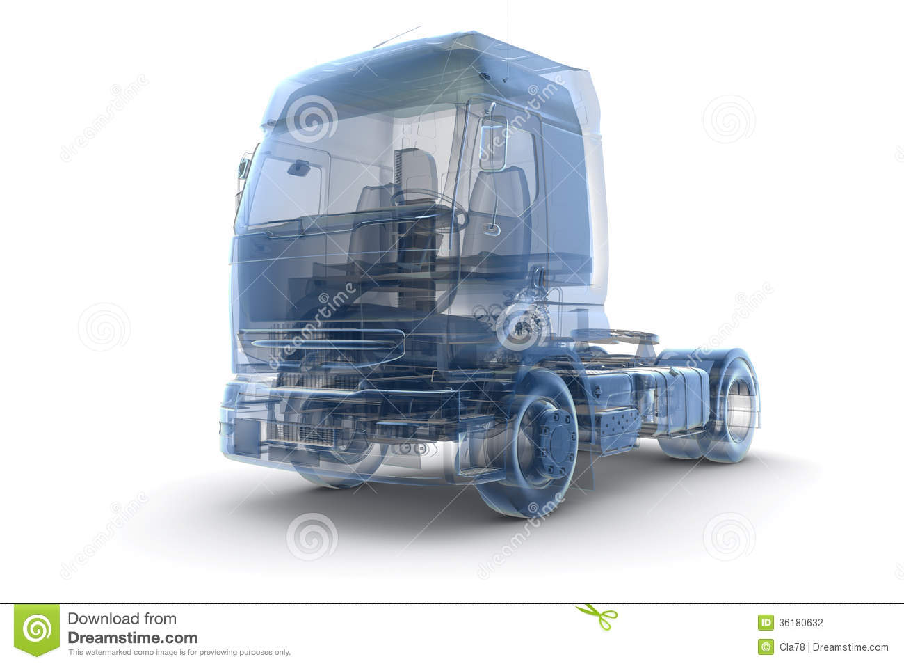Blue X Ray Truck Transport Isolated White
